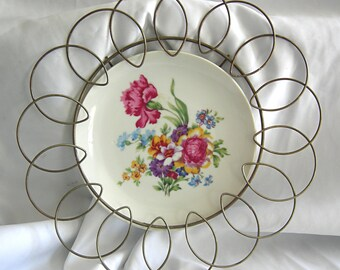 Shabby Cottage Chic Floral Bouquet Wall Plate with Brass Tone Metal Surround - Unsigned - Vintage 1960- 1970