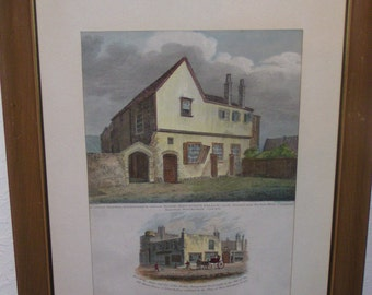 Antique 1811 Robert Wilkinson King John's Palace & Adam Eve Coffee Rooms, Hand-Colored Copper Engraving from Londina Illustrata #58 Cornhill