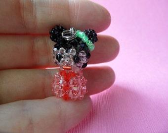 Rose Peach Kokeshi Doll - Swarovski Crystal Cell Phone Charm