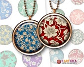 1 inch (25mm), 1.5 inch, 20mm Printable Images FLORAL PATTERNS for Pendants Bottle caps Mountings cameo settings Cabochons Instant Download
