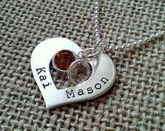 Mom Necklace - Custom Heart Washer Necklace -  Grandma Necklace - Couples Necklace - Stamped Evermore