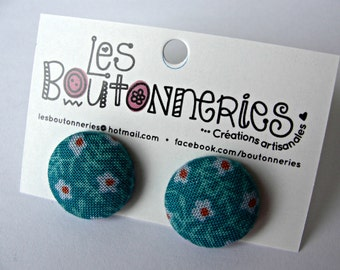 Earrings buttons -Turquoise flowers-