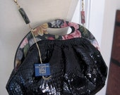 Vintage 80s Colombetti of Milan Black Snake Skin Purse with Floral Lucite Frame and Shoulder Strap NWT