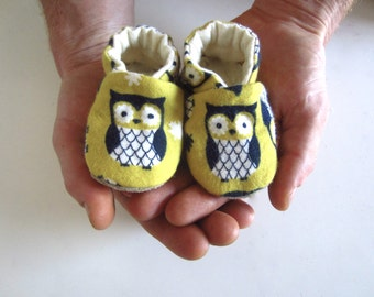 Soft and Cute Owl Baby Shoes in Pear Yellow