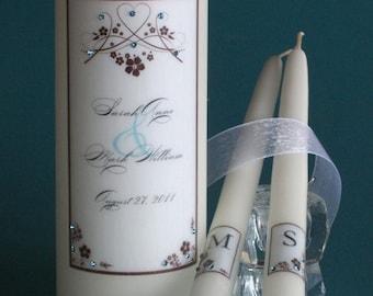 Heart Flower Swarovski Crystal Unity Candles
