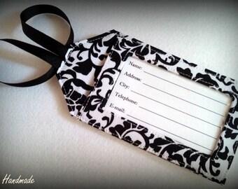 Fabric Luggage Tag - Black & White Damask