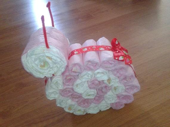 Baby Shower Bastelideen ~ Handmade diaper snail girl or boy neutral unique baby