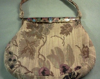 1930's Tapestry bag with cloisonne closure