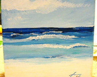 Blue Caribbean Waters - Small Original Painting on Gallery Wrap