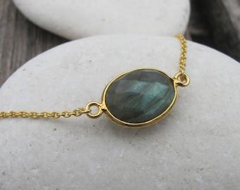 Simple Labradorite Bracelets- Labradorite Link Bracelet- Oval Gemstone Bracelets- Sterling Silver Classic Bracelet- Charm Chain Bracelet
