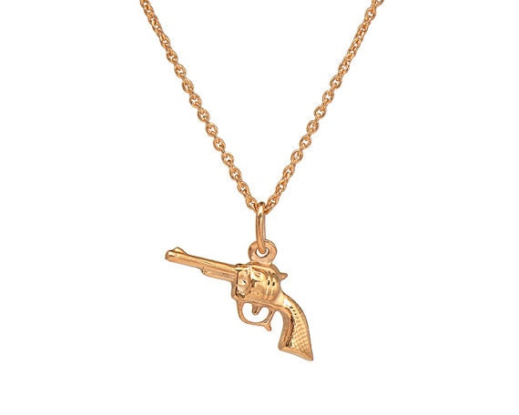 gold gun necklace gun necklace rifle necklace revolver by