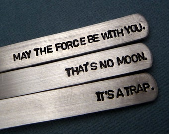 Star Wars Inspired Hand Stamped Aluminum Tie Bars - Personalized with date on reverse