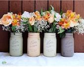 Thanksgiving Centerpiece Fall Home Decor Painted Mason Jars brown olive peach cream