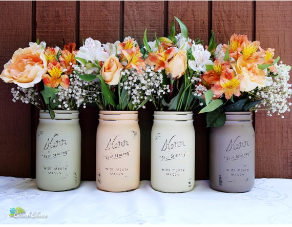 Thanksgiving Fall Home Decor Painted Mason Jars brown olive peach cream Centerpiece Table Decor