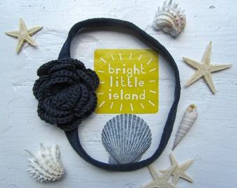 Crochet Camellia Knit Headband // Crochet Flower Knit Headband // Infant Headband // Newborn Headband