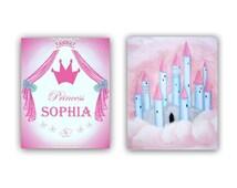 Princess Wall Art Personalized Custom Name Pink & Blue Castle Princess SET 2 Prints, Baby Girl Nursery, Girls room Decor, Childrens Wall Art