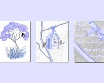 Lavender Nursery Decor, Birds Wall Art, Set of 3 Prints, Birds Baby Nursery,  First we had each other, Kids Nursery Decor, Nursery Wall Art