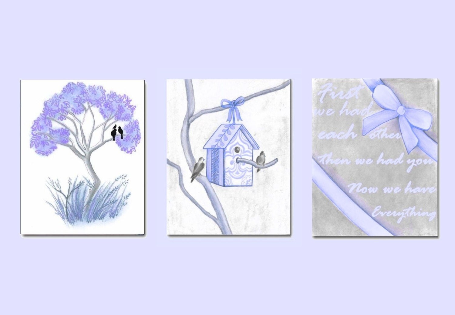 Nursery Wall Decor Set : Lavender nursery decor birds wall art set of prints