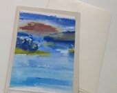 Original watercolor card, Sunset, landscape art, Watercolor card, nature, one of a kind, unique, watercolor art, blank card