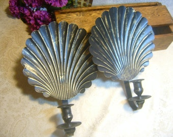 Distressted Black and Brass Metal Sea Shell Candle Holders