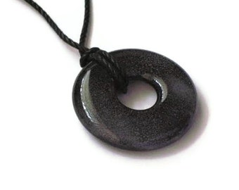 Donut pendant necklace - black and gray fused glass - magnetic clasp