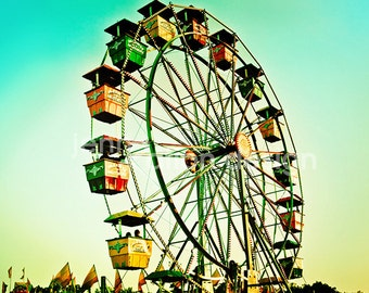 Carnival Photography, Ferris Wheel, Vintage Carnival Ride, Fair, Retro Midway Ride, Carnival Photograph Print