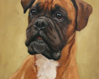 Boxer dog small original oil painting on board 12 x 9 by H Irvine