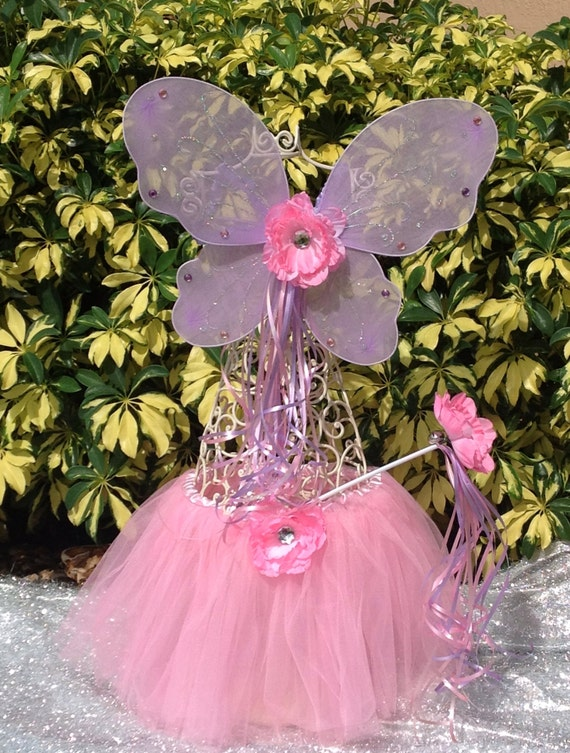 Pink and Purple Fairy Princess wings Pink Tutu  and Princess Fairy Wand with Pink Flower and Bell Dress Up Party Favors