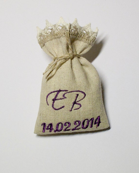 Wedding Favour Gift Bags: Wedding Favor Sachets Linen Gift Bags With Lace Personalized
