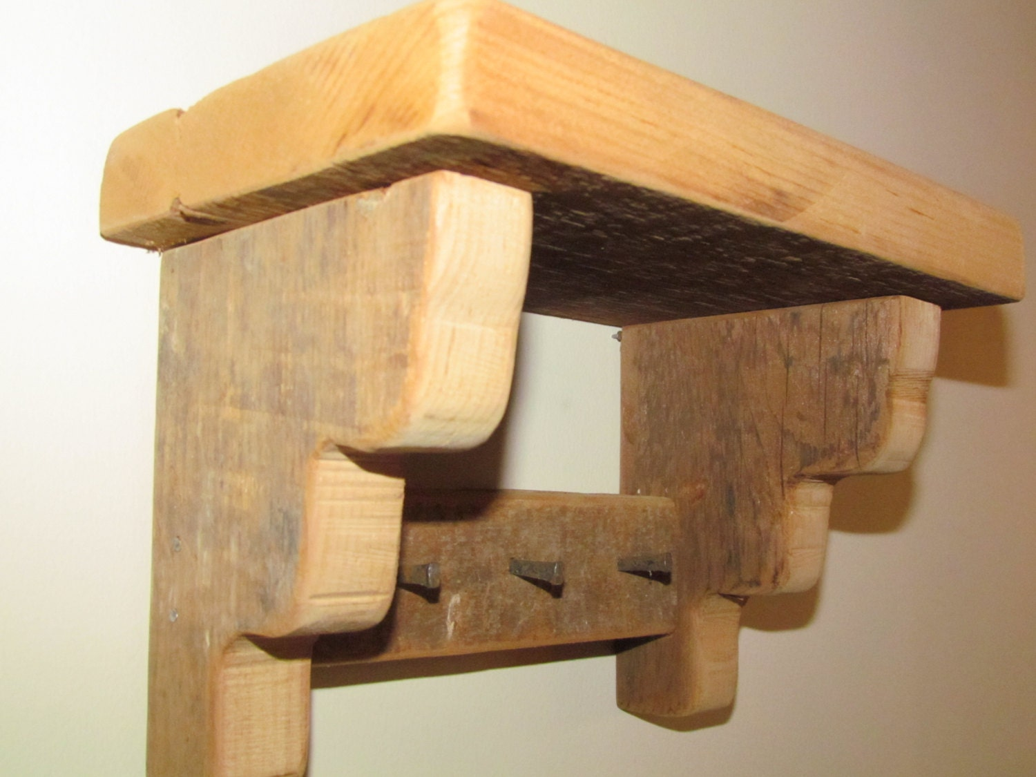 Old barn wood wall shelf with three antique by