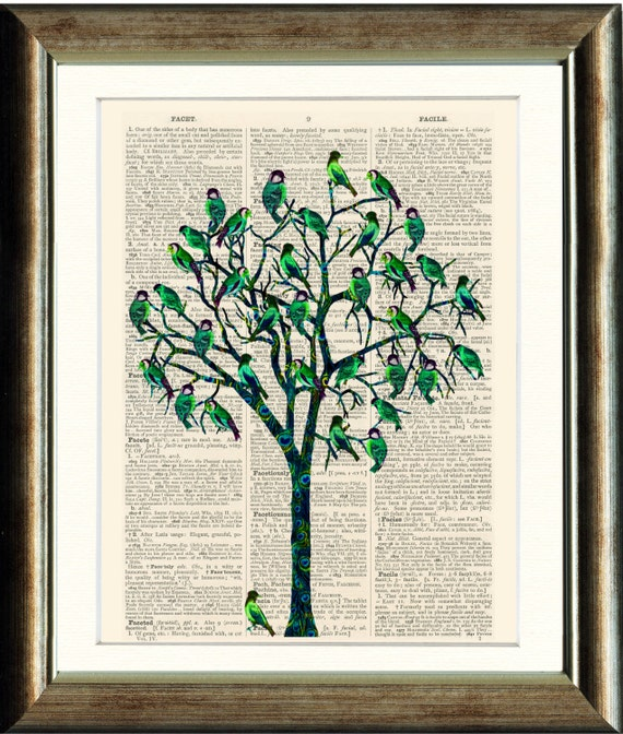Bird Tree 2  - Upcycled vintage book page print printed on a page from a late 1800s Dictionary Buy 3 get 1 Free