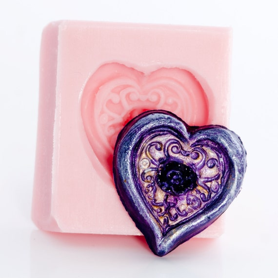 Mold Rose Heart Flexible Silicone easy to use, make Cabochons for Jewelry, Crafts, Scrapbooking use with Polymer Clay,Epoxy Resin  (506)