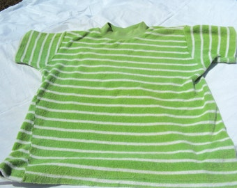 Stretch green and white striped terry short sleeve pullover top, sized for teens c. 1960s