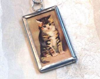 Vintage Cat Necklace Two Sided Kitten Reverses to MEOW