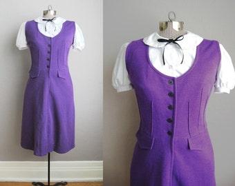 1960s Dress Purple Jersey 60s Vintage Dress Jumper Pinafore Pockets / Medium