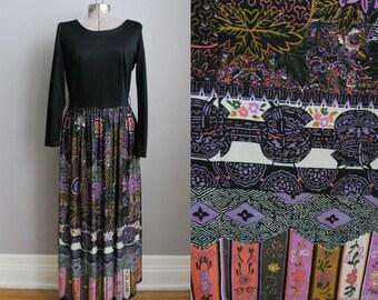 1960s Vintage Dress Maxi Twofer 60s Dress Long Sleeves Black Batik Print / Medium