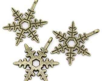 10 Pieces Bronze Snowflake Charms