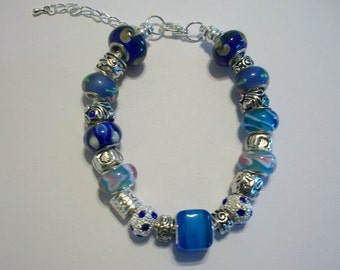 Pretty Blue European Charm Bracelet