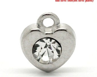 2 Pieces Silver Tone Clear Rhinestone Heart Charms