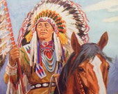 1950 Native American CHIEF in HEADDRESS PRINT Ideal for Framing or Scrapbooking