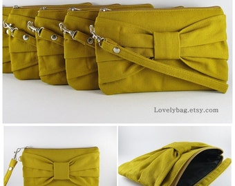 SUPER SALE - Set of 5 Mustard Bow Clutches - Bridal Clutch, Bridesmaid Clutch, Bridesmaid Wristlet,Wedding Gift,Zipper Pouch - Made To Order