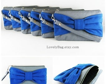 SUPER SALE - Set of 6 Gray with Royal Blue Bow Clutches - Bridal Clutch, Bridesmaid Clutch, Bridesmaid Gift, Wedding Gift - Made To Order