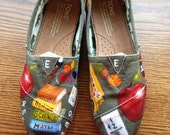 Handpainted TOMS Shoes- Elementary School TEACHER Back To School Theme (I supply the shoes) - Choose Your Color - CUSTOM Shoes - Vegan Shoes
