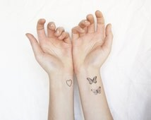 tiny tattoos pack - vintage designs- arrow, key, feather, skull, butterflies - for wrists