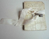handwritten letter 1827 with its little old key - frenchmanufacture