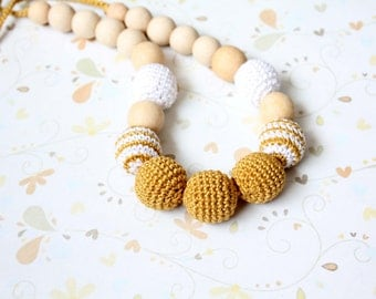 Crochet Mustard Yellow / Amber Nursing  Necklace - Breastfeeding Necklace - Gold / Ochre Crochet Necklace for mom and child