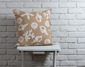 """Beach Decor: Hand stamped hand dyed tan sea shell pillow cover 20""""x20"""" made to order"""