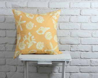 "Beach Decor: Hand stamped hand dyed yellow sea shell pillow 20""x20"" MADE TO ORDER"