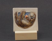 Sea Otter Hand Made Tile with Orange Sea Star