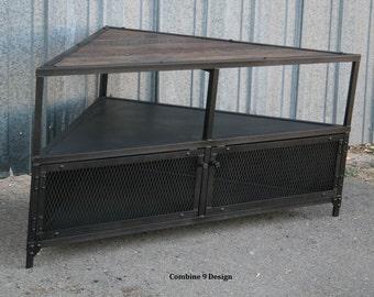 corner unittv stand industrial reclaimed wood steel
